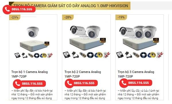 Trọn bộ camera giám sát có dây Analog 1.0mp Hikvision